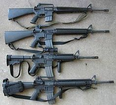 M-16  https://upload.wikimedia.org/wikipedia/commons/thumb/b/b8/M16a1m16a2m4m16a45wi.jpg/260px-M16a1m16a2m4m16a45wi.jpg