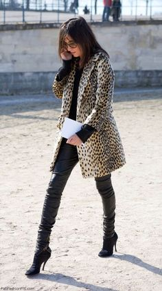Emmanuelle Alt street style with animal print coat and leather pants.