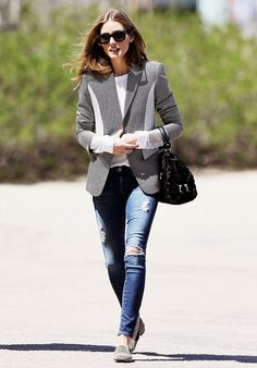 Olivia Palermo in a printe blazer and ripped skinny jeans