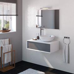 50 Fotos de móveis para casa de banho pequena ~ Decoração e Ideias Home Staging, Corian, Leroy Merlin, Double Vanity, Entrance, Toilet, House Plans, Sink, Mirror