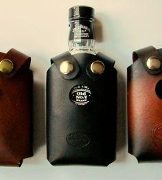 #Whiskey Bottle #Holster Black by SanFilippoLeather #Etsy