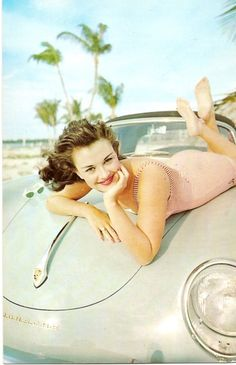 Beautiful vintage car and swimsuit