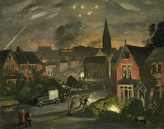 Incendiaries in a Suburb 1941 by Henry Carr (1894-1970).