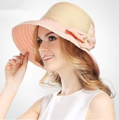 c7a076a8ee0d6 Bow UV sun hats for women elegant pink straw hat beach wear