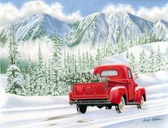 Christmas Truck Painting - The Road Home by Sarah Batalka