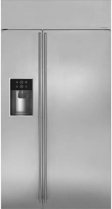 Ge Monogram Ziss420dkss 42 Built In Counter Depth Side By Side Refrigerator With 25 4 Cu Ft Ca Monogram Refrigerator Side By Side Refrigerator Glass Shelves