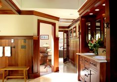 Mahogany Bathroom - Built and Designed by Mark Olson, Olson Dev LLC.  Limestone, heated floors