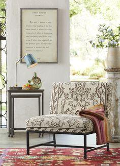 Blackfoot Kilim Chair - handmade, seat-and-a-half-sized, Kilim chair.