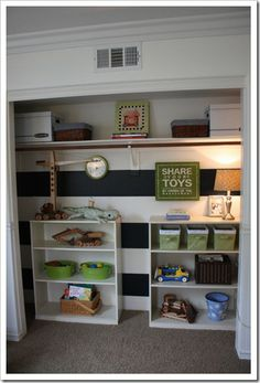 Toy closet. The boy must not have very many clothes or has another closet somewhere. Not sure this would work for a girl