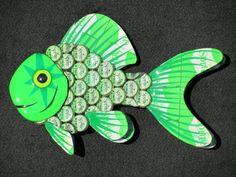 Metal Soda Bottle Cap Wall Art  Goldfish