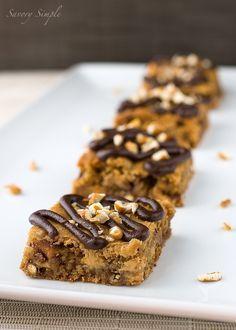 Chocolate Pretzel Peanut Butter Blondies ~ Savory Simple
