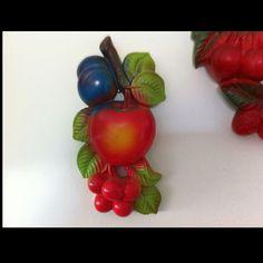Vintage chalkware. Apple, Cherries, & Strange Blue Fruit :)