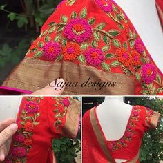 Wedding Saree Blouse Designs, Saree Blouse Neck Designs, Dress Neck Designs, South Indian Blouse Designs, Embroidery Neck Designs, Designer Blouse Patterns, Blouse Models, Work Blouse, Maggam Works