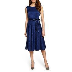 Tahari Belted Flocked Overlay A-Line Dress (585 BRL) ❤ liked on Polyvore featuring dresses, navy, floral a line dress, blue floral dress, sleeveless dress, blue a line dress and blue dress