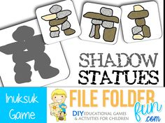 Inuksuk Game - This is a game for children to work on visual discrimination. Children match the Inuksuk statues to the correct shadow. Preschool Special Education, Preschool Games, Preschool Printables, Tot School, Summer School, File Folder Games, School Psychology, Games For Kids, Canada