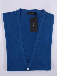 SVEVO Parma CARDIGAN uomo classico maglia COTONE MAKO blu tg 54 58 IT NWT.  MakatiMaglieria 45af8548f002