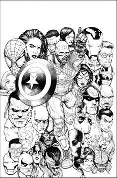Steve McNiven: Uncanny Avengers #17 cover inks - actually just another straight from pencils cover . I had completed a recreation of Romita's classic Amazing Spider-man 100 cover and thought the concept would work well for this cover.