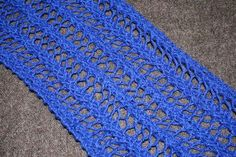 Lace Knitting Pattern. I just finished a scarf with this ONE ROW pattern. It's beautiful and was so easy! Now, because of its monotonous nature, I highly recommend using a varicolored or self-stripping yarn.