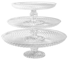 Palais Glassware Elegent 3 in 1 Cupcake or Cake Stand - Mix and Match Use As a One Tier, Two Tier or Three Tier or As 3 Separate Cake Stands - 10' High X 12' Diameter (Diamond Design) ** Click image to review more details.