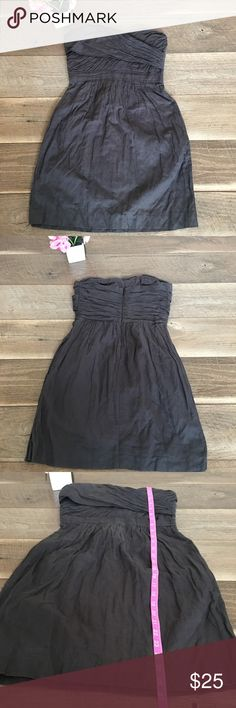 5c42a53183c J. Crew crinkled metallic strapless dress 0 J. Crew Fitted Crinkled Gray  Grey Ruched