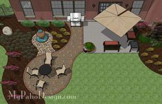 Rectangle Patio Design With Circle Fire Pit Area