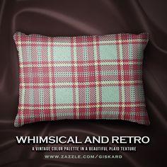 "WHIMSICAL AND RETRO... ""A vintage color palette in a beautiful plaid texture..."" #christmas, #christmassy, #xmas, #holidays, #joy, #seasonal, #plaid, #tartan, #plaidpattern, #tartanpattern, #homeaccent #cushion #pillow #accentpillow #decorativepillow #zazzle #zazzler #zazzleshop #digitalartcreations"