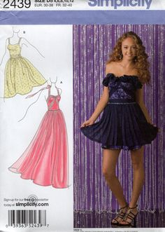 FREE US SHIP Simplicity 2439 Larissa Muehleder Prom Evening Length Dress  Gown Strapless Size 4-12 10792195b