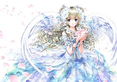 Rainbow angel with long blond curly hair, blue eyes, white feather wings, & pastel blue dress by manga artist Shiitake.