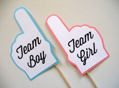 Team Boy and Team Girl Finger Photo Booth Props . Team Boy and Team Girl . Baby Shower . Gender Reveal . Blue and Pink . Set of 2 on Etsy, $12.00