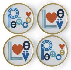 Peace/Love coasters, $48 at Jonathan Adler