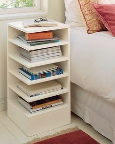 modular bedside table, also useful near a reading place (via White Bedside Tables)