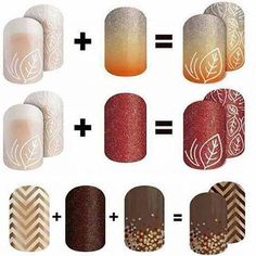 Layering Jamberry wraps is so much fun! and now with our gel enamel you could even do a 2D effect! Time to get creative!!Festive fall combos you can do!!