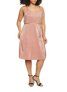 Plus Size Sleeveless Crinkle Knit Dress with Belt,MAUVE