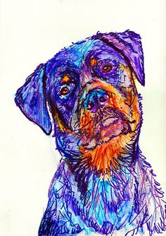 Rottweiler painting Dog Gift, Dog Painting Purple, orange Print from original Watercolor and……