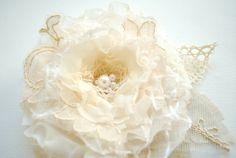 ivory champagne cream  flower vintage burlap by HansHolzkopf, $33.00