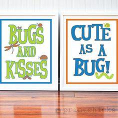 Nursery Room Decor - Cute as a Bug - Nursery and Toddler 8 x 10 Print Set. $32.00, via Etsy.