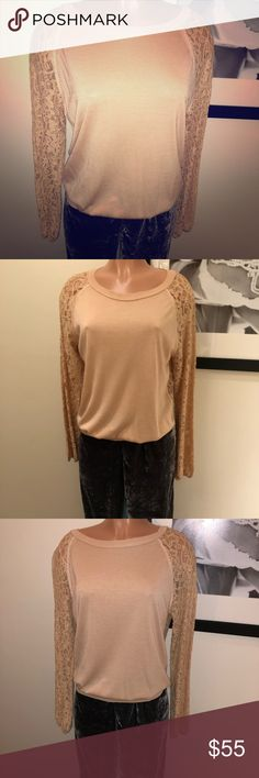 Nude DVF sweater with lace back DVF💎large💎tan color, or nude color 💎boatneck/scoop neck, solid front with a full lace back and lace sleeves, elastic bottom to pop up or wear pulled down💎only worn a few times, excellent condition 💋 Diane Von Furstenberg Sweaters Crew & Scoop Necks