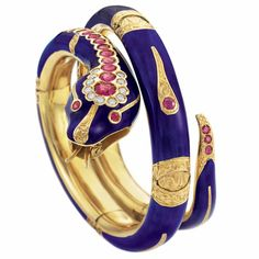 Lot 256 - Gold, Blue Enamel, Ruby and Diamond Snake Bangle Bracelet, circa 1960 Snake Jewelry, Rose Jewelry, Animal Jewelry, Jewelry Art, Antique Jewelry, Vintage Jewelry, Jewelry Accessories, Jewellery, Turtle Jewelry