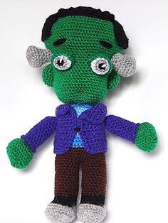 Muñeco Frankenstein Amigurumi - Patrón Gratis en Español aquí: http://www.patronesamigurumi.org/patrones-gratuitos/personajes/frankenstein-amigurumi/