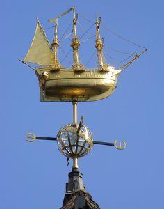 Gold ship weathervane ship top of liberty Soho London