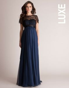 Navy Silk and Lace Maternity Evening Gown | Seraphine Maternity