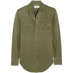 Saint Laurent Washed-denim shirt ($630) ❤ liked on Polyvore featuring tops, shirts, blouses, camisas, green, green top, denim shirt, loose tops, brown tops and loose shirts