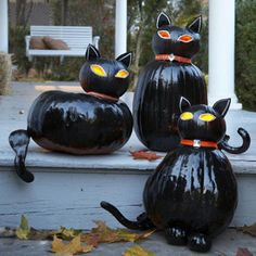 cats made from pumpkins! Adorable for Halloween!