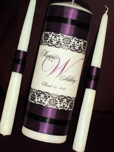 Unity Candles for the Church Purple Wedding Centerpieces, Centrepieces, Wedding Decorations, Diy Wedding, Wedding Ideas, Renewal Wedding, Wedding Unity Candles, Candle Craft, Wedding Activities