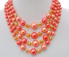 Japan Multi 4 Strand Hot Pink Peach Crystal Bead Graduated Necklace Vintage | eBay