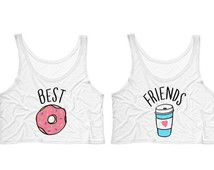 Best Friends Donut And Coffee Duo Crop Tank Top - shirt for best friend; bestie shirt; bff shirt;