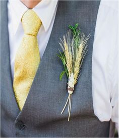 Wheat and arrowhead boutonniere