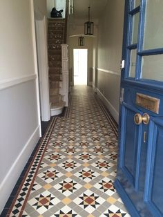 Victorian floor tiles and contemporary geometric ceramic tiles. Victorian Hallway Tiles, Edwardian Hallway, Tiled Hallway, Front Hallway, Victorian House Interiors, Victorian Homes, Ceramic Floor Tiles, Tile Floor, Hall Tiles