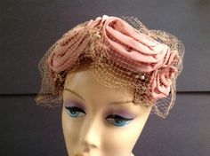 Vintage Hat Dusty Rose Mauve Cocktail Hat with Rosettes Floral early 60's