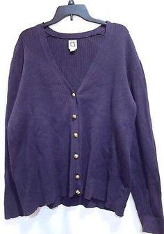 e4f3a0b8df2a75 Anne Klein AK plus size 2x gold lion button cardigan navy blue long sleeve  rib Used